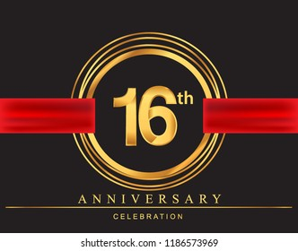 16th anniversary design logotype golden color with ring and red ribbon for anniversary celebration, elegant design.