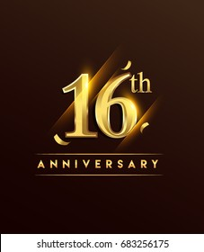 16th anniversary glowing logotype with confetti golden colored isolated on dark background, vector design for greeting card and invitation card.
