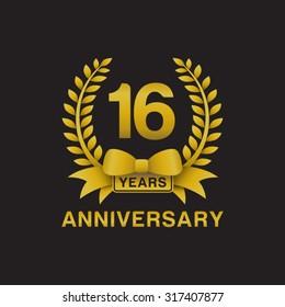 16th anniversary golden wreath logo black background