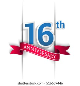 16th anniversary logo, blue and red colored vector design on white background. template for Poster or brochure and invitation card.