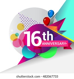 16th Anniversary logo, Colorful geometric background vector design template elements for your birthday celebration.