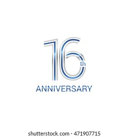 16th anniversary logo design uses three lines which form the numbers.  years anniversary signs . Silver and blue color anniversary