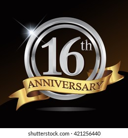 16th anniversary logo, with shiny silver ring and gold ribbon isolated on black background. vector design for birthday celebartion