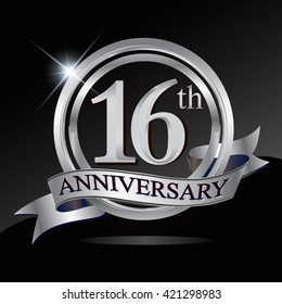 16th anniversary logo with silver ring and ribbon. Vector design template elements for your birthday celebration.