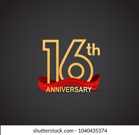 16th anniversary logotype design with line golden color and red ribbon for celebration isolated on dark background