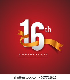 16th anniversary logotype with golden ribbon isolated on red elegance background, vector design for birthday celebration, greeting card and invitation card.