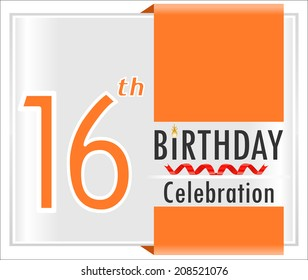 16th birthday, 16 year celebration card with vibrant colors and ribbon - vector illustration