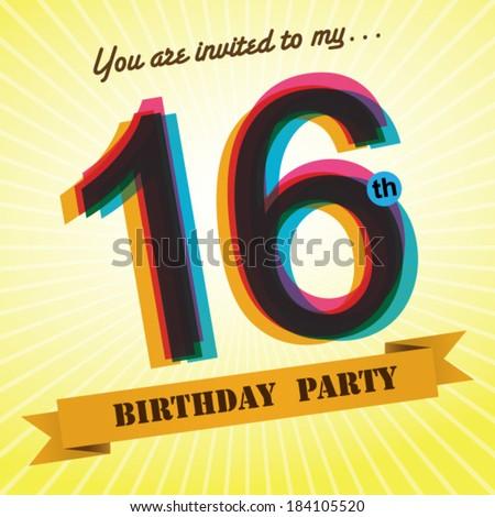 16th Birthday Party Invite Template Design In Retro Style