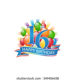16th colorful happy birthday logo with balloons and burst of light
