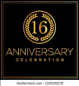 16th gold anniversary celebration logo with golden color vector design