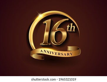 16th golden anniversary logo with gold ring and golden ribbon, vector design for birthday celebration, invitation card.
