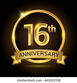 16th golden anniversary logo, with shiny ring and ribbon, laurel wreath isolated on black background, vector design