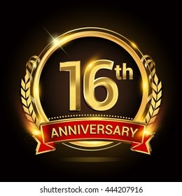 16th golden anniversary logo, with shiny ring and red ribbon, laurel wreath isolated on black background, vector design