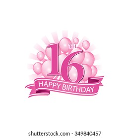 16th pink happy birthday logo with balloons and burst of light