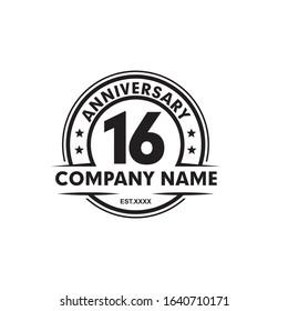 16th year celebrating anniversary emblem logo design vector template