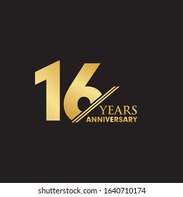 16th year celebrating anniversary emblem logo design vector template