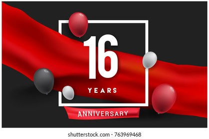 16th years Anniversary celebration logo, isolated on red ribbon and balloon, vector elements for banner, invitation card and birthday party.