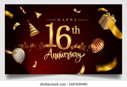 16th years anniversary design for greeting cards and invitation, with balloon, confetti and gift box, elegant design with gold and dark color, design template for birthday celebration.