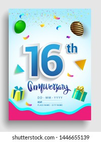 16th Years Anniversary invitation Design, with gift box and balloons, ribbon, Colorful Vector template elements for birthday celebration party.