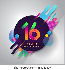 16th years Anniversary logo with colorful abstract background, vector design template elements for invitation card and poster your sixteen birthday celebration