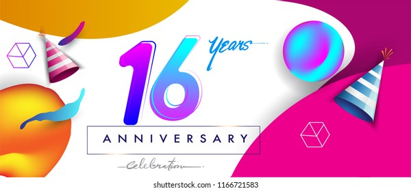 16th years anniversary logo, vector design birthday celebration with colorful geometric background and futuristic elements