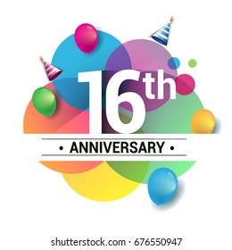 16th years anniversary logo, vector design birthday celebration with colorful geometric, Circles and balloons isolated on white background.