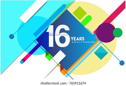 16th years anniversary logo, vector design birthday celebration with colorful geometric isolated on white background.