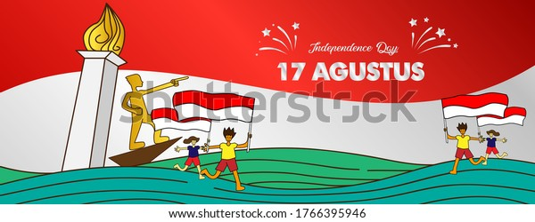 17 agustus, Indonesia Independence day, banner template vector with red and white color illustration of people holding flags