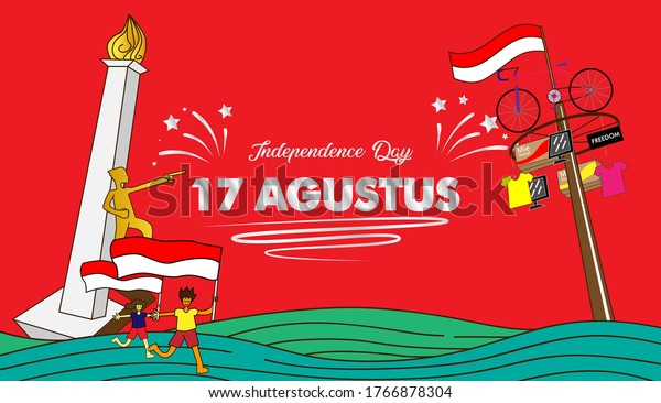 17 agustus is mean Indonesia Independence day, banner template vector with red and white color illustration