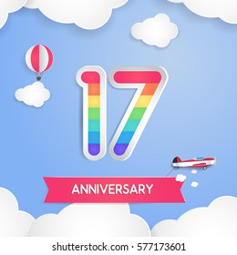 17 Anniversary Celebration Logo with Rainbow Colored and using Paper Art Design Style