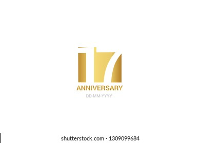 17 anniversary, minimalist logo. 17th years, jubilee, greeting card. Birthday invitation. year sign. Gold space vector illustration on white background - Vector