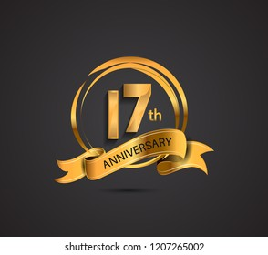 17 anniversary template design golden color with ribbon and ring memorial celebration event