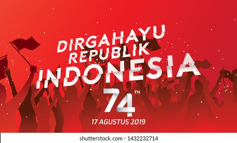 17 August. Indonesia Happy Independence Day greeting card, banner, and texture background logo. - Vector