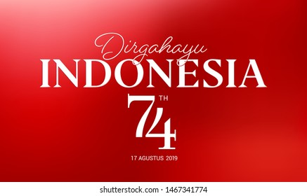 17 August. Indonesia Happy Independence Day greeting card, banner, on red background. dirgahayu it's means  longevity. 17 agustus 2019 it's means :  August 17, 2019