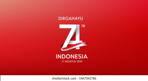 17 August. Indonesia Happy Independence Day greeting card, banner, on red background. dirgahayu it's means \nlongevity. 17 agustus 2019 it's means : \nAugust 17, 2019