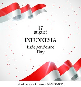 17 August. Indonesia Happy Independence Day greeting card. Waving indonesian flags isolated on white background. Patriotic Symbolic background Vector illustration.