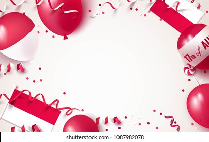 17 August. Indonesia independence day celebration background with balloons, flag and confetti. Festive frame flat lay. Vector illustration