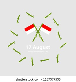 17 August. Indonesia Independence Day background with ( bambu runcing ) Indonesian tradisional weapons.