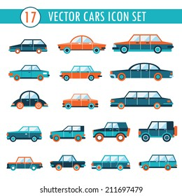 17 cars icon set. Transportation. Vector illustration
