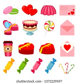 17 colorful cartoon romantic food elements. Love date invitation decor Valentine themed vector illustration for icon, stamp, label, certificate, brochure, gift card, poster or banner decoration