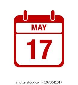 17 May calendar red icon. seventeen