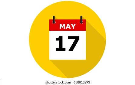 17 may calendar vector flat icon with long shadow