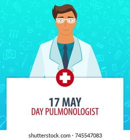 17 May. Day Pulmonologist. Medical holiday. Vector medicine illustration