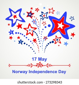 17 May.  Norway Independence Day.  Celebration background with firework and place for your text. vector illustration
