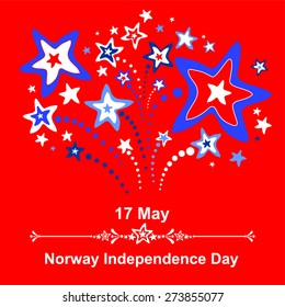 17 May. Norway Independence Day. Celebration red background with firework and place for your text. vector illustration