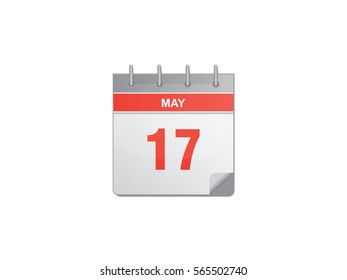 17 May red calendar vector illustration on white background