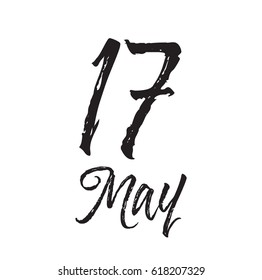 17 may, text design. Vector calligraphy. Typography poster. Usable as background.