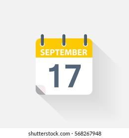 17 september calendar icon on grey background