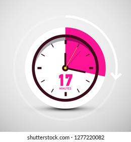 17 Seventeen Minutes Symbol on Vector Clock Icon