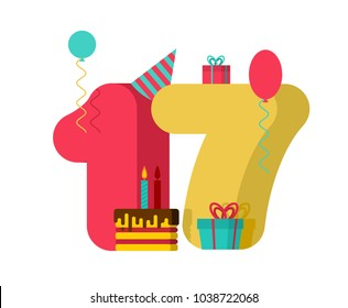 17 year Birthday sign. 17th Template greeting card anniversary celebration. seventeen number and festive piece of cake with candle. Balloon and Gift box.